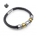 Silver gold black leather stainless steel handmade bracelet round