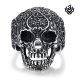 Silver skull with tatoo ring solid stainless steel band soft gothic