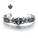 Silver fleur-de-lis engraved bangle stainless steel cuff filigree bracelet