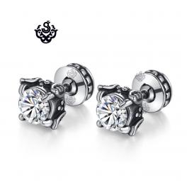 Silver stud swarovski crystal stainless steel celtic cross double side earrings