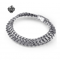 Silver bracelet stainless steel mens chain 210mm soft gothic