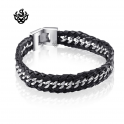 Silver black leather stainless steel handmade bracelet