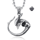 Silver Alien pendant with gemstone solid stainless steel necklace
