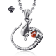 Silver Alien pendant with gemstone solid stainless steel necklace RED